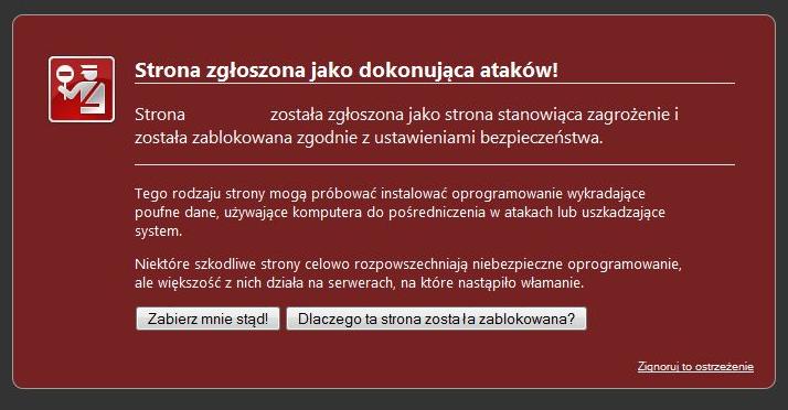 Zrzut ekranu komunikatu o niebezpiecznej stronie